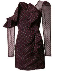Self-Portrait Blue One-shoulder Polka Dot Dress
