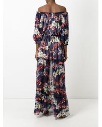 MSGM - Blue Off-the-shoulder Long Dress - Lyst