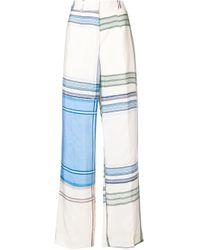 Ports 1961 Blue Striped Colour-block Trousers