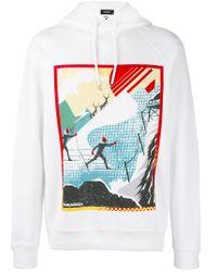 DSquared² - White Ski Print Hooded Sweatshirt for Men - Lyst
