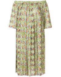 Ultrachic Green Animals Print Off Shoulder Dress