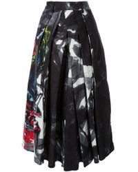 Yohji Yamamoto Black Pleated Print Midi Skirt