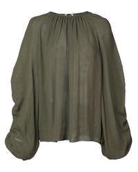 Rochas Green Bluse mit gerafften Ärmeln