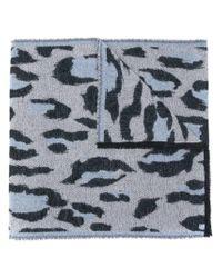 KENZO Gray Leopard Print Scarf