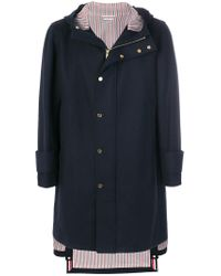 Thom Browne - Blue Snap Front Hooded Parka for Men - Lyst
