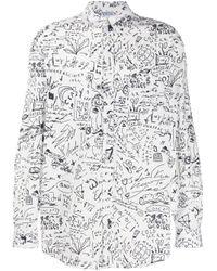 Marcelo Burlon White Sketches Oversized Shirt for men