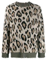 R13 Pullover mit Leopardenmuster in Multicolor für Herren