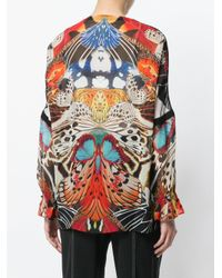 Roberto Cavalli Multicolor Butterfly Print Blouse