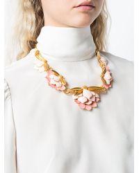 Oscar de la Renta - Metallic Enamelled Wild Lotus Necklace - Lyst