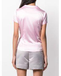Chemise en satin à manches courtes Styland en coloris Pink