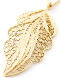 Wouters & Hendrix Blue Filigree Leaf Pendant Necklace