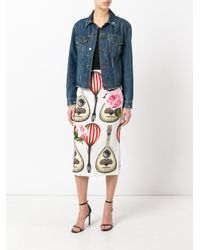 Dolce & Gabbana - White Mandolin And Rose Print Skirt - Lyst