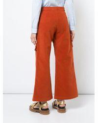 Sies Marjan Orange Wide Leg Cropped Trousers