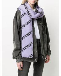 Balenciaga ジャカードロゴ スカーフ Purple