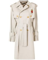 Dolce & Gabbana - Natural Classic Trench Coat With Heart Applique - Lyst