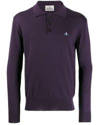 Vivienne Westwood Purple Knitted Polo Shirt for men