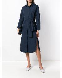 ODEEH Blue Side Slit Boxy Shirt Dress