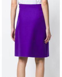 Gonna in lana e seta di Gucci in Purple
