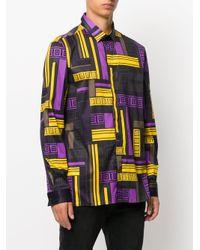Versace Black Greek Print Shirt for men