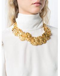 Oscar de la Renta - Metallic Wild Flower Necklace - Lyst
