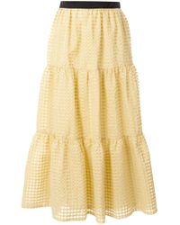 Tu Es Mon Tresor チェック フレアスカート Yellow