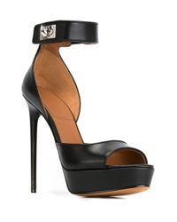 Givenchy Black Shark Lock Leather Sandals