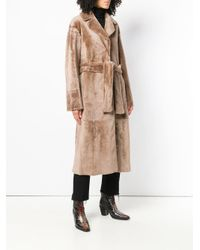 DROMe - Natural Long Belted Coat - Lyst