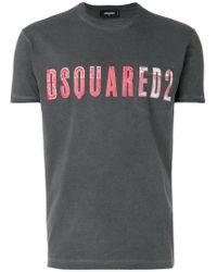 DSquared² Gray Vintage Embroidered Logo T-shirt for men