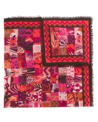 Ferragamo - Pink Scialle Patchwork Print Square Scarf - Lyst