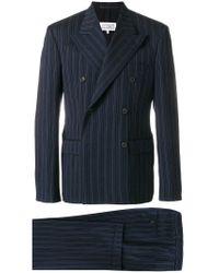 Maison Margiela Blue Striped Double Breasted Suit for men