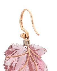 Irene Neuwirth Purple 18kt Rose Gold One-of-a-kind Tourmaline Leaf Earrings