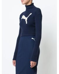 PUMA Blue Cropped Logo Turtleneck Sweater