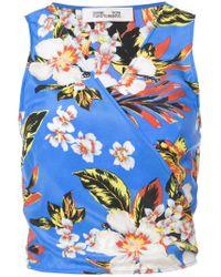 Diane von Furstenberg Blue Floral Crop Top