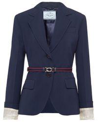 Prada ベルテッド シングルジャケット Blue