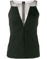 Blusa de crepé con panel translúcido Rick Owens de color Black