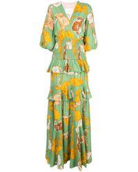 Vestido con motivo floral a capas y cuello en V Johanna Ortiz de color Green