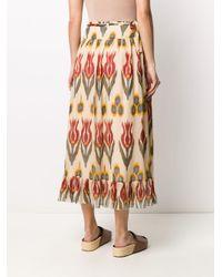 RED Valentino Orange Floral-print Maxi Skirt