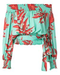 PATBO Green Off-the-shoulder Blouse