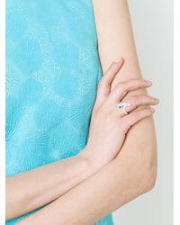 Ferragamo - Green Embellished Ring - Lyst