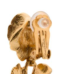 Oscar de la Renta - Metallic Gilded Floral Clip Earrings - Lyst