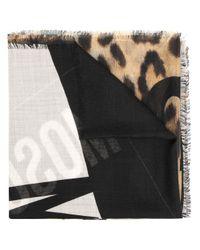 Écharpe à imprimé léopard Moschino en coloris Black