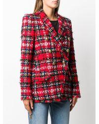 Balmain Double-breasted Tweed Blazer Red