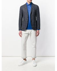 Kiton Blue Glossy Polo Shirt for men