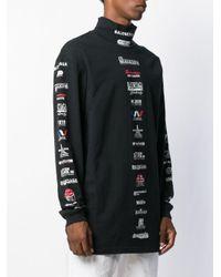 T-shirt en coton à col montant et logos multiples Balenciaga pour homme en coloris Black