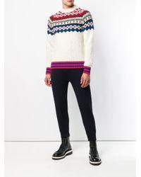 Moncler - White Fair Isle Wool-blend Sweater for Men - Lyst