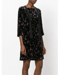 Antonio Marras Black Floral Flared Dress