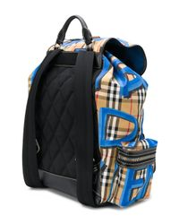 Burberry - Blue Graffiti Vintage Check Medium Backpack for Men - Lyst