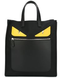 e264272279 Lyst - Fendi Monster Leather-Trimmed Tote in Black for Men