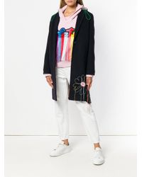 MIRA MIKATI Blue Hand Embroidered Flower Patch Sb Coat
