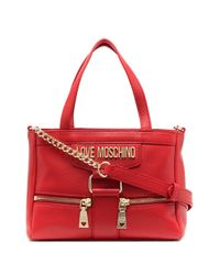 Love Moschino Red Zip-detail Leather Tote Bag